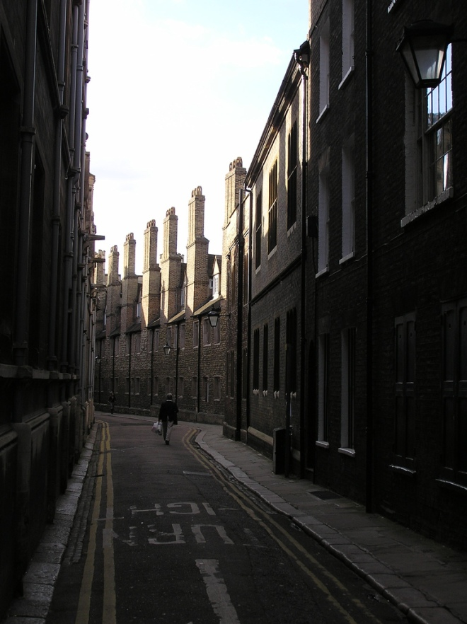 Trinity Lane - bounded by Gonville and Caius College on the left, and Trinity College on the right. Unchanged in centuries.
