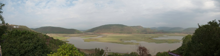 Panoramic view of the Pampa reservoir in Annavaram