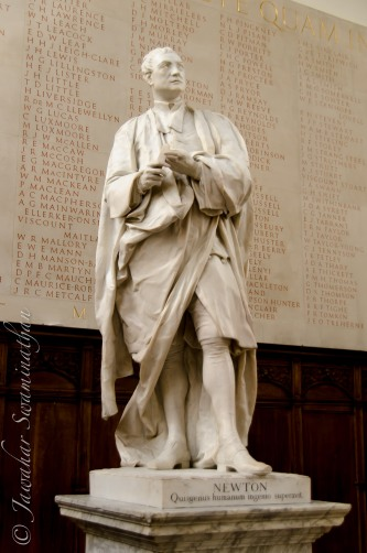 Statue of Sir Isaac Newton, a prominent Trinity alumni.