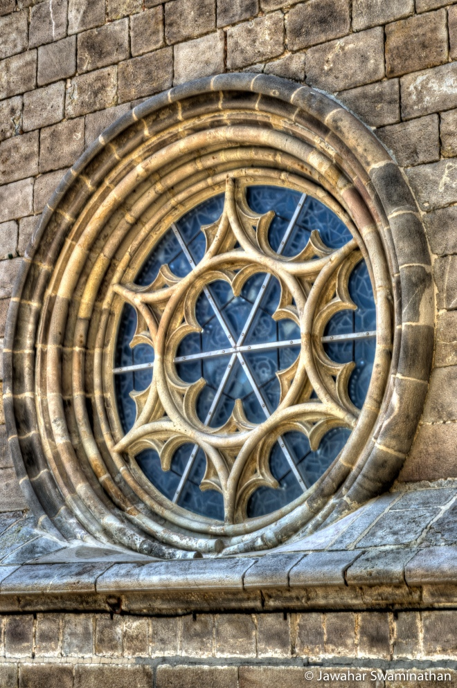 Window at the Barcelona Cathedral rooftop. HDR from 3 bracketed photos.